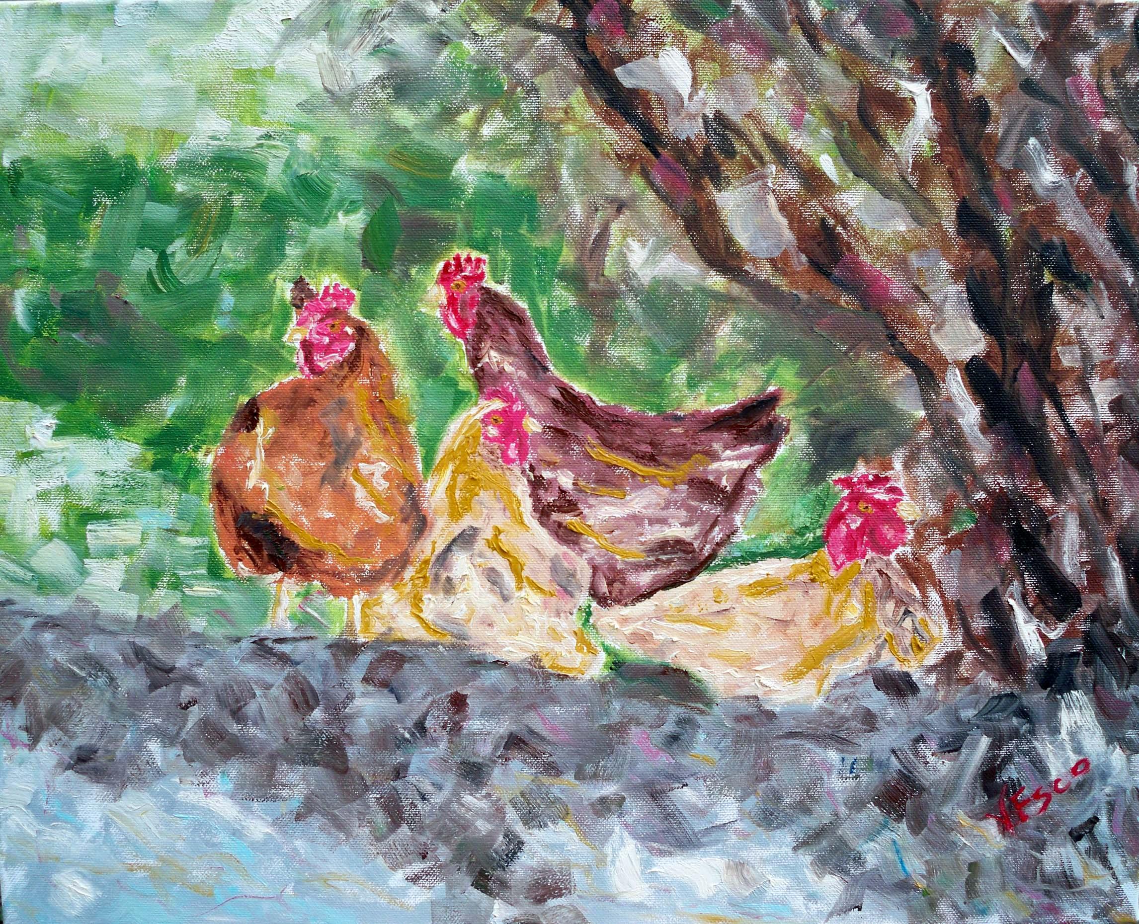 Hens. Painting. | Vittorio Francisco Art