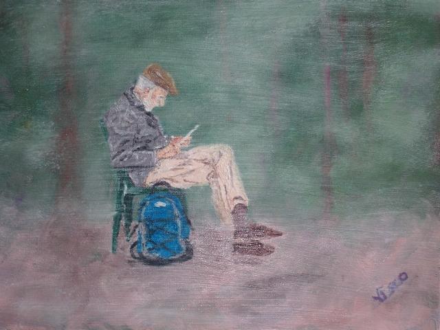 Reading in the fog. Leggendo nella nebbia. Painting | Vittorio Francisco Art