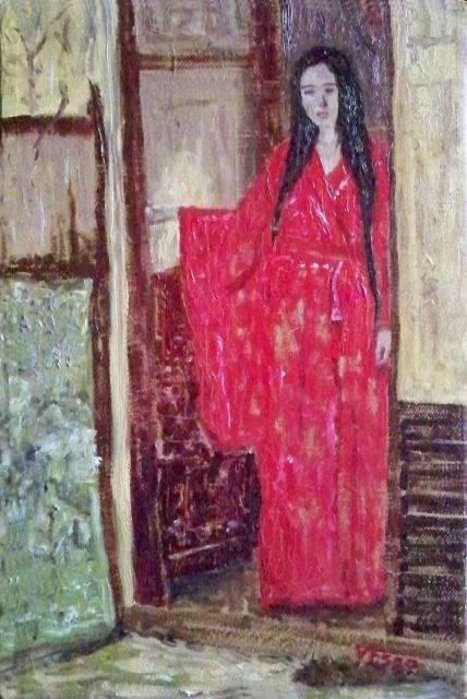 On the doorway. Sulla soglia. Painting | Vittorio Francisco Art