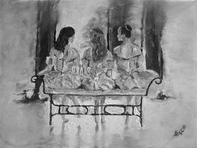 Ballerinas. Black and White. La seduta. Painting | Vittorio Francisco Art