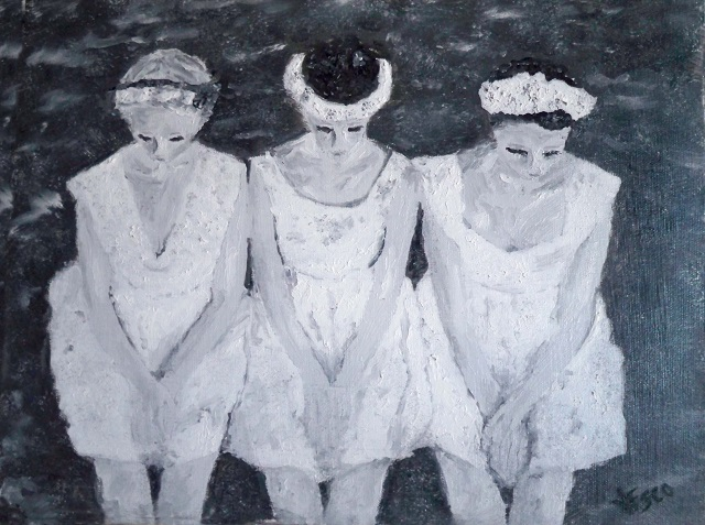 Concentration. Ballerinas. Black and White. Painting | Vittorio Francisco Art