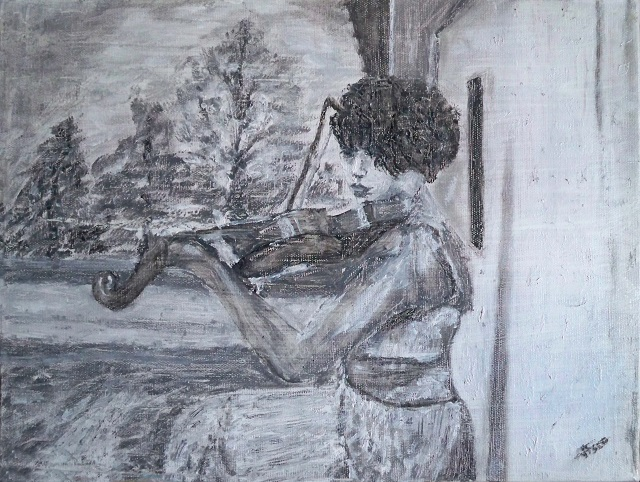 Playing violin. Black and White. Assolo. Painting | Vittorio Francisco Art